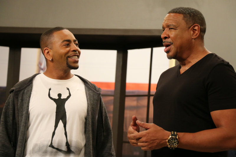 """Ken Lawson and Dorien Wilson practicing their lines for Bounce TV's """"In the Cut."""""""