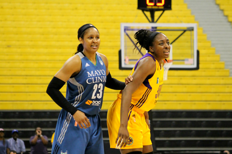 Nneka Ogwumike and the Los Angeles Sparks have had their hands full with Maya Moore and the Minnesota Lynx in this playoff matchup. Photo by Dennis J. Freeman/News4usonline.com