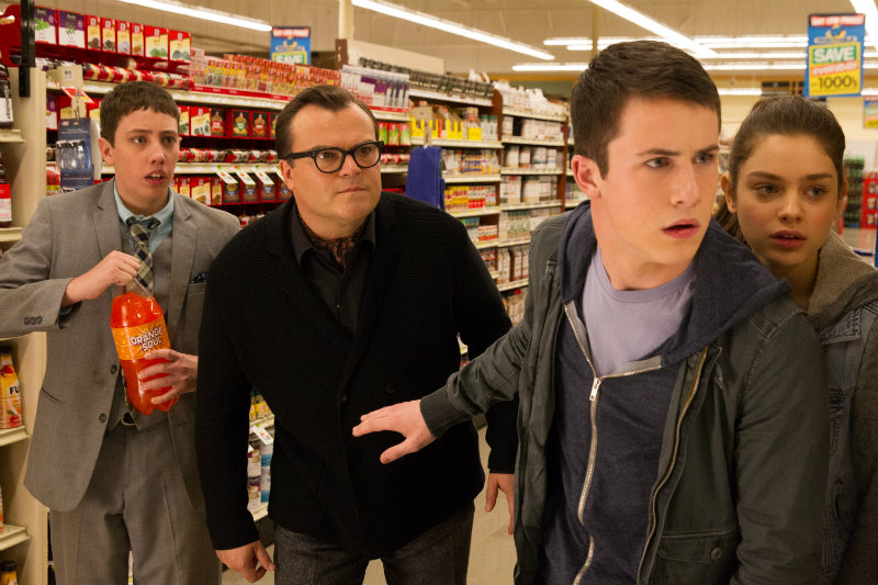 """L-r, Ryan Lee, Jack Black, Dylan Minnette and Odeya Rush star in Columbia Pictures' """"Goosebumps."""" ©2015 CTMG. All Rights Reserved."""