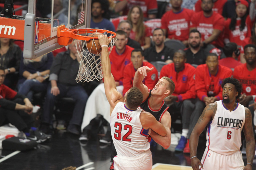 Blake Griffin goes in for the dunk against Portland.