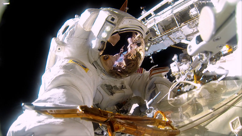 A scene from the IMAX® film A Beautiful Planet – NASA Commander Barry (Butch) Willmore on a spacewalk to repair the exterior of the International Space Station. It's almost 300° on the sun side of the space station and -275° in the shade. © 2016 IMAX Corporation Photo courtesy of NASA