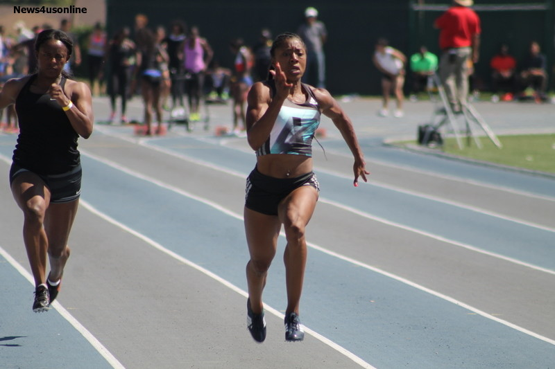 LeKeisha Lawson glides to the win the women's 100 meters with a time of 11.11 seconds. Photo by Dennis J. Freeman/News4usonline.com