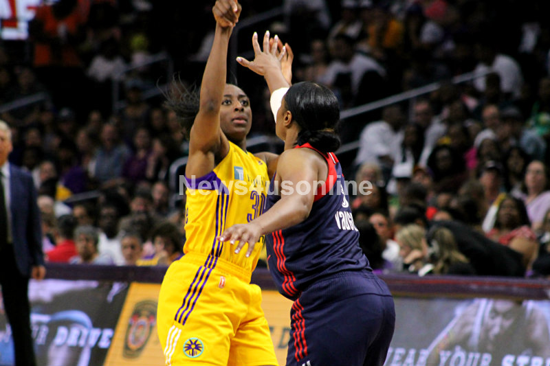 Nneka Ogwumike drops in two of her 22 points against the Washington Mystics Sunday, July 10, 2016. Photo by Dennis J. Freeman/News4usonline
