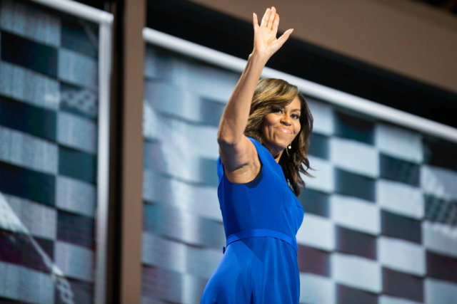 First Lady prepares to speak at the 2016 Democratic National Committee Convention. Photo by Eric Schaff/DNCC