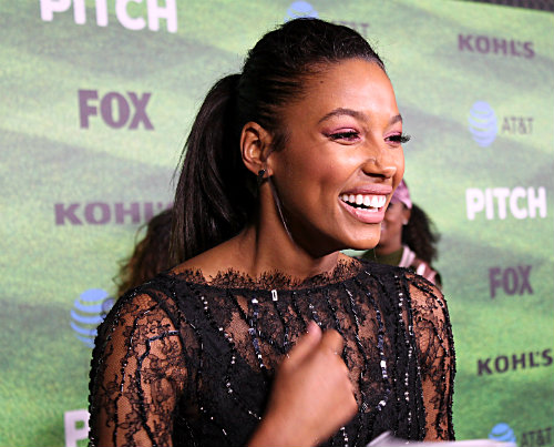 """Actress Kylie Bunbury said she likes the way she has been able to master throwing the fastball in her role as Ginny Baker in """"Pitch."""" Photo by Dennis J. Freeman"""
