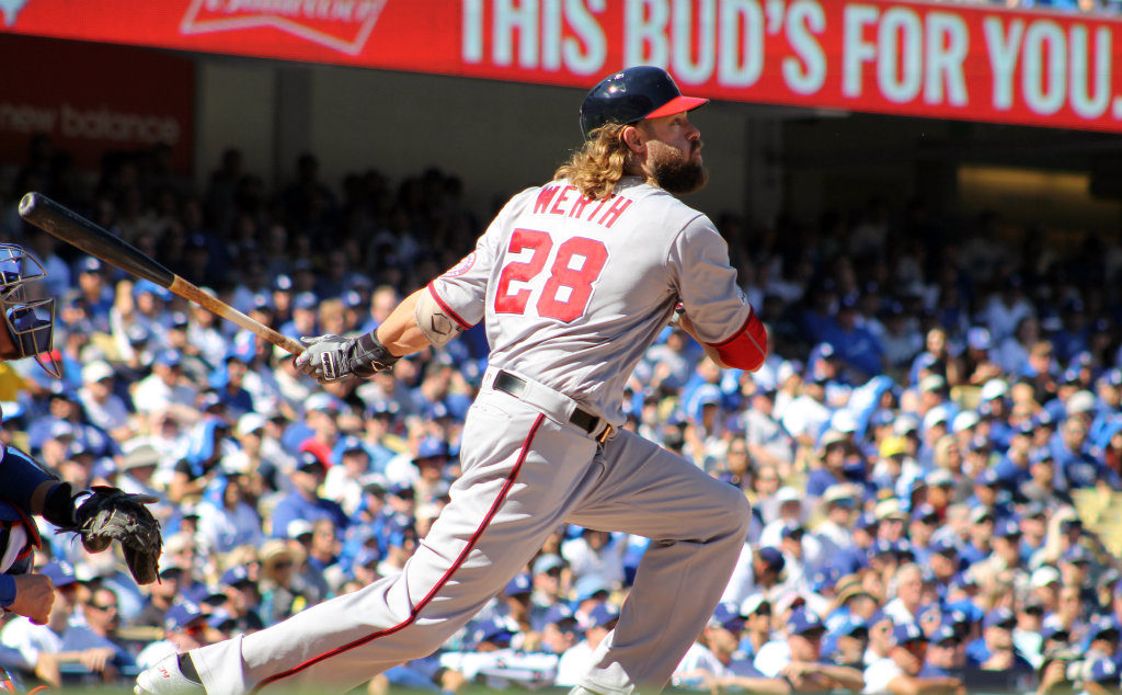 Washington Nationals slugger Jayson Werth went deep for a two-run home run in the ninth inning of the Game 3 National League Division Series contest at Dodger Stadium. Photo by Dennis J. Freeman/News4usonline.com