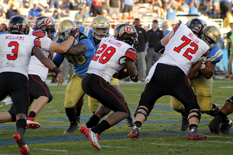 Utah running back Joe Williams rushed for 332 yards and four touchdowns against the UCLA Bruins on Saturday, Oct. 22, 2016, Photo by Dennis J. Freeman/News4usonline.com