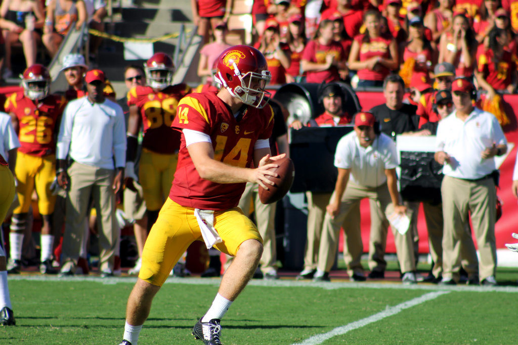 USC quarterback Sam Darnold passed for 358 yards and three touchdowns against Colorado in the Trojans' 21-17 win on Saturday, Oct. 8, 2016. Photo by Dennis J. Freeman/News4usonline.com