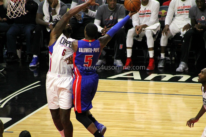 Los Angeles Clippers center DeAndre Jordan denies this shot in his team's 114-82 win against the Detroit Pistons on Monday, Nov.7, 2016. Photo by Dennis J. Freeman/News4usonline.com