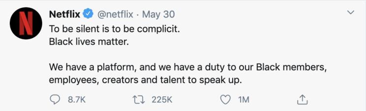 Netflix - Tweet on Black Lives Matter