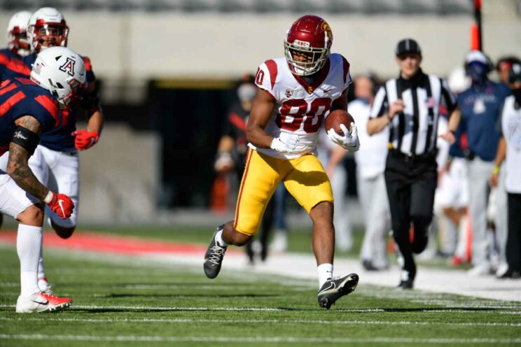 USC wide receiver John Jackson III (80) looks for yards after the catch against Arizona on Saturday, Nov. 14, 2020. Photo by USC Athletics