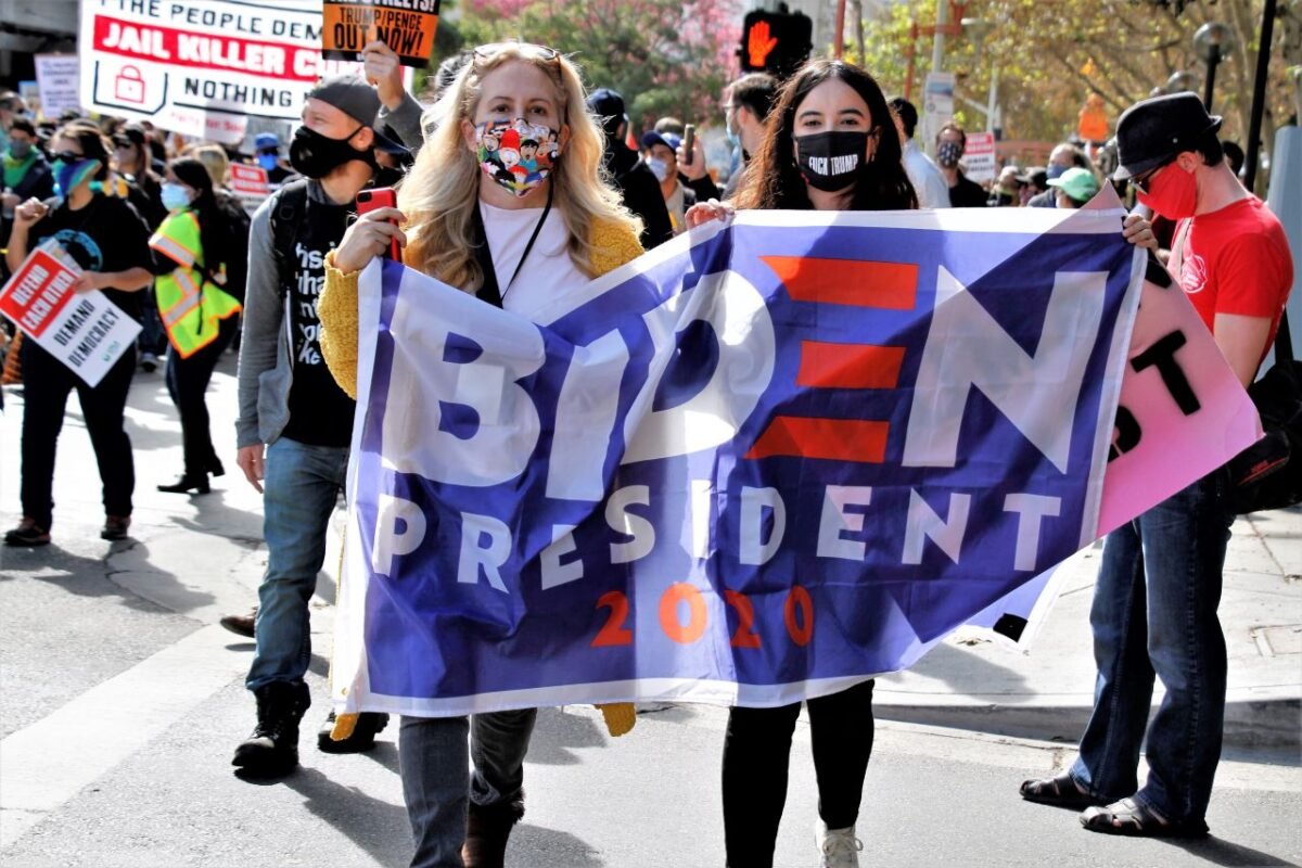 Anti-Trump demonstrators come out in support for Joe Biden after the former vice president was announced as No. 46.