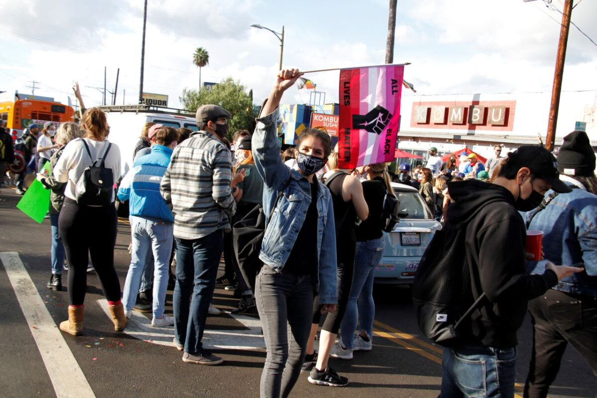 A rally in the Silver Lake area of Los Angeles brought out a massive crowd of demonstrators reveling in the 2020 presidential win by Joe Biden over incumbent Donald Trump. Photo by Dennis J. Freeman