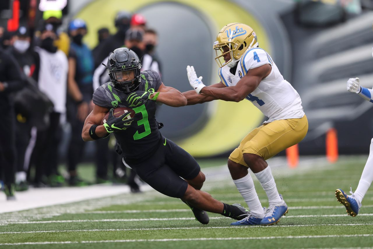 Oregon defeats UCLA 38-35 in a Pac-12 Conference football game.